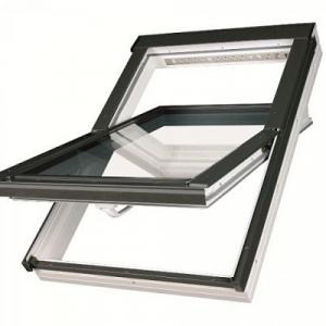Мансардное пластиковое окно Факро PTP-V /GO U3 «Золотой дуб» 114х118см