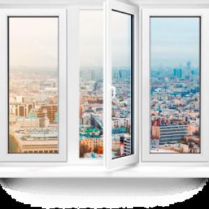 Пластиковое окно Rehau Blitz трехстворчатое 2700x600мм