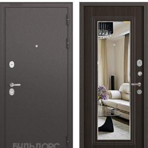 Входная дверь Бульдорс STANDART-90 Черный шелк/Ларче шоколад 9P-140 зеркало