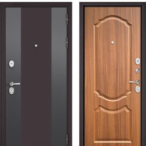 Входная дверь Бульдорс STANDART-90 Черный шелк D-4/Орех лесной 9SD-4