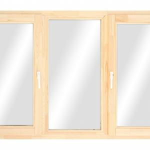 Окно из лиственницы или сосны класса стандарт трехстворчатое поворотное/ глухое/ повор.-откидное