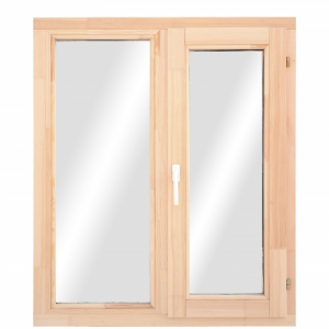 Окно из лиственницы двухстворчатое поворотное/пов.-откидное