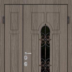 Двустворчатая входная дверь с решеткой Арка