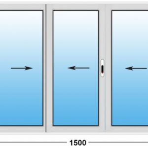 Алюминиевое окно Provedal 2-ух полозное 1500х1000 (ШхВ)