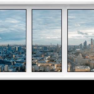 Пластиковое окно 2100 х 500мм трехстворчатое VEKA WHS 60